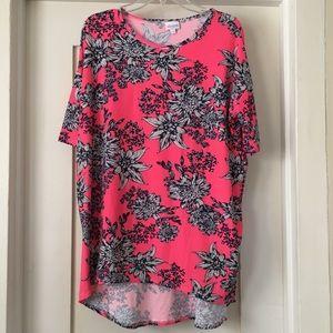 LuLaRoe Irma Hot Pink Neon Floral leggings fabric